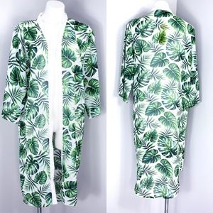 Miss Innocent Palm Leaf Print Kimono/Beach Cover